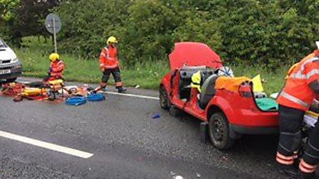 The aftermath after a two-vehicle collision in Wisbech. Picture: CAMBRIDGESHIRE FIRE & RESCUE SERVIC