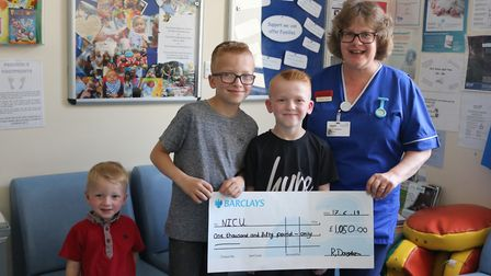 Chase, Lincoln and Swaley Douglas with Clare Booth of NICU