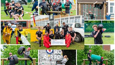 The College of West Anglia's uniformed services department students taking part in an annual challen