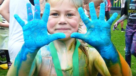 Colour run magic as Emneth Academy pupils organise first charity extravaganza. Picture: LYNSEY SKATE