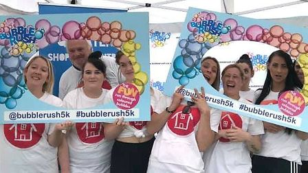 Staff from Lyncroft Care Home took part in this year's Bubble Rush event. Picture: LUCY BATESON