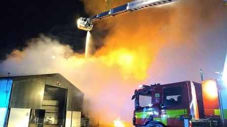 Dramatic images taken from the farm blaze on Rummers Lane in Wisbech St Mary overnight. Picture: Cam