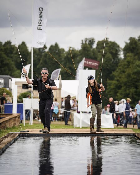 Hywell and Tanya Morgan's 'Fly Casting Made Easy' demonstration at The Game Fair at Hatfield House.