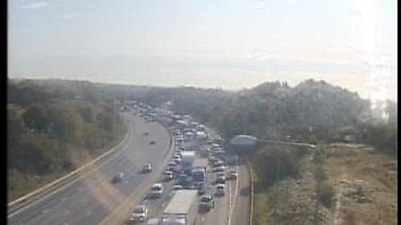 Traffic is building on the M25 after a car and lorry crash between Potters Bar and South Mimms. Pict