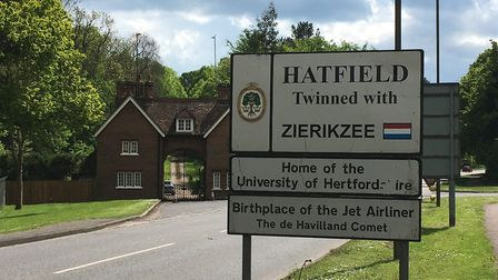 The birthplace of the jet ariliner sign near The Ryde in Hatfield. Picture: Alan Davies