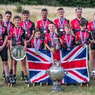 Wisbech Inline Speed Skating Club at the outdoor British Championships. Team photo L-R back row: Jo