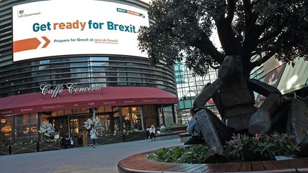 An electronic display showing a 'get ready for Brexit' government advert. Photograph: Yui Mok/PA.