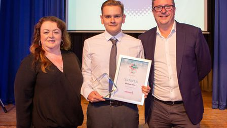 William Hoy, Young Achiever, presented by assistant manager of B & M Care homes Jeannette Bussey, s