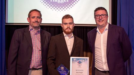Connor Martin and Harry Hagger, Good neighbour award, presented by Managing Director Brian Allen of