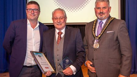 Gillian and Brian Scott, Role Model of the Year, presented by Deputy Mayor, Cllr Peter Hebden. Pictu