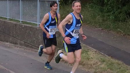 Garden City Runners' rising star Ryan Kean with men's captain and super vet Sean Bowen in the Midwee