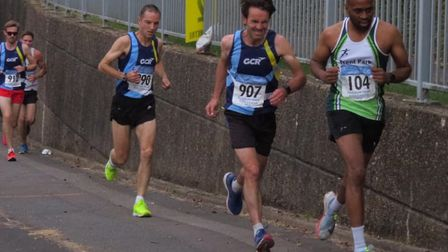 GCR trio Simon Bostock, Bruce Judge and Paul Guy chase a Trent Park runner in the Midweek League Mob