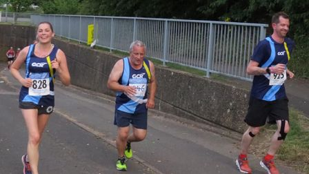 Garden City Runners' Judy Eden, Rob Cartwright and Jago Jackson in action at the Midweek League Mob