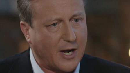 David Cameron is interviewed by Tom Bradby for ITV News. Photograph: ITV.