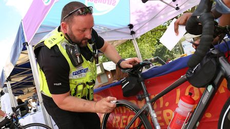 Herts Police offering free bicycle marking at the Hatfield Health Festival last month. Picture: STRA