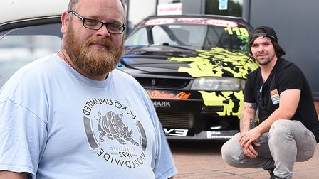 Mods and wraps! Gareth Kendal (left) and Stephen Stenton (right). Customised cars were on display at