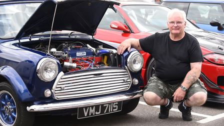 Mods and wraps! Pictured is Ron Watt. Customised cars were on display at The Light Cinema in Wisbech