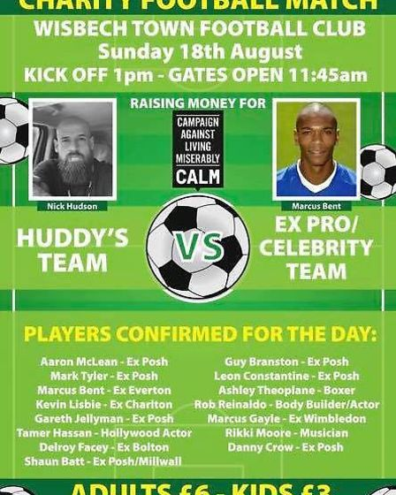 Two teams will square off in this weekend's charity football match at Wisbech Town Football Club, in