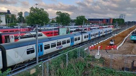 Trains were unable to move followinf the power cut. Picture: James Acraman.