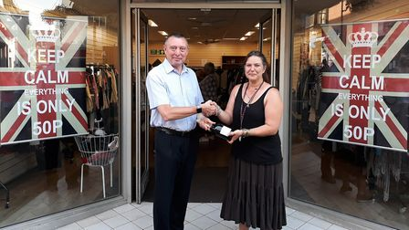 Horsefair Shopping Centre manager Kevin Smith with Butterfly Hospice trust manager Linda Sanderson a