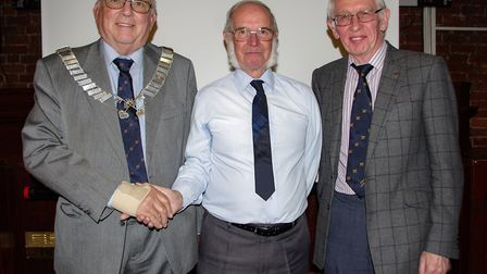 Pictured is Chairman John Groom, Kevin Rogers and member Mervyn Hart. The August meeting of the Wisb