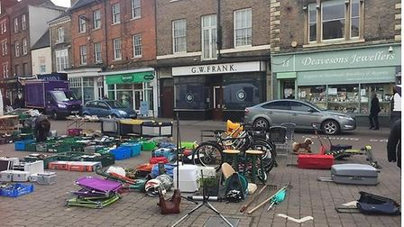 This was the scene that greeted visitors to Wisbech on Sunday, the regular car boot in the market pl