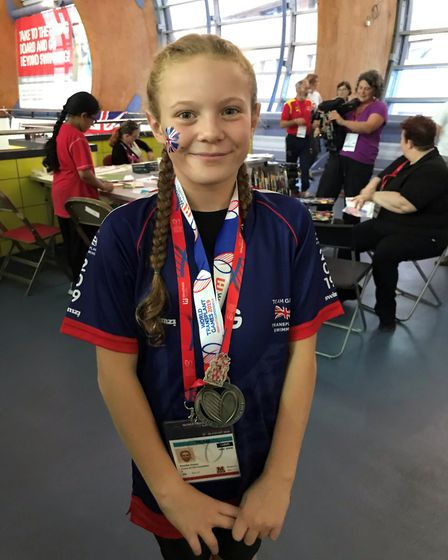 Amelia Green, aged 11 of Walpole St Andrew (pictured), scooped a haul of medals at this year's World