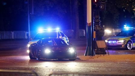 A supercar is used for a chase sequence during the filming for the latest movie in the Fast and Furi