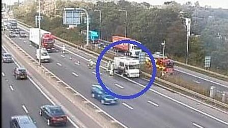 Fire service attending South Mimms M25 vehicle fire. Picture: Highways England.