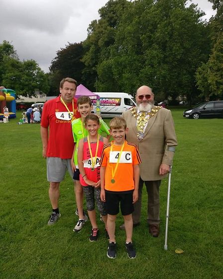 The Wilson family won a 600m relay race at the Three Counties RC Summer Relays in Wisbech Park
