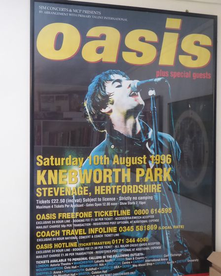 An Oasis poster for the band's Knebworth concerts