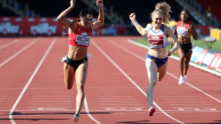 Jodie Williams of Herts Phoenix claims the 200m title at the British Athletics Championships. Pictur