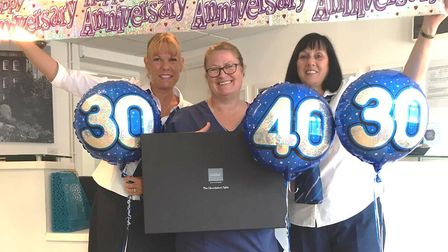 Three dental workers from Wisbech are celebrating 100 years combined service. Left to right: Mandy C