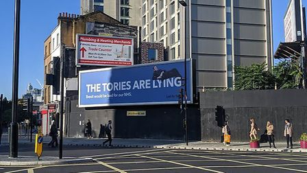 Led By Donkeys billboard of Jacob Rees-Mogg. Photograph: Twitter.