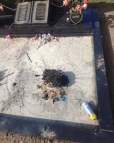 The joint grave of Eli and Gertrude Frankham was torched by arsonists overnight at Mount Pleasant ce