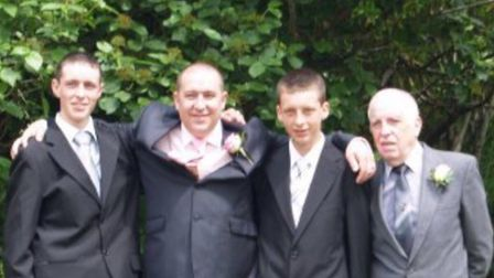 Estranged family: In the photo is Tim, second left, his half brothers Curtis and Ryan, and on the ri