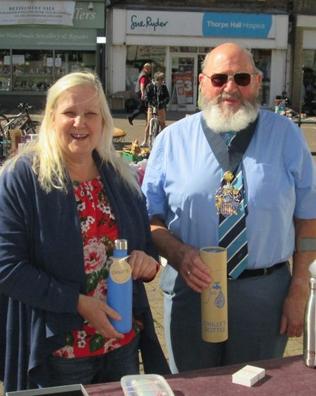 Wisbech Mayor Mike Hill (right) and Sally Argent (left) display the top quality refillable bottles d