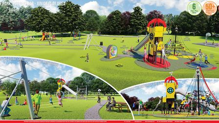 A 3D presentation of how the Zeppelin play area planned for Oakmere Park in Potters Bar will look. P