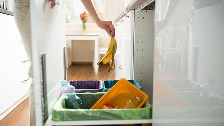 Woman putting banana peel in recycling bin in the kitchen cabinet. Picture: Sasha Suzi/Getty Images/