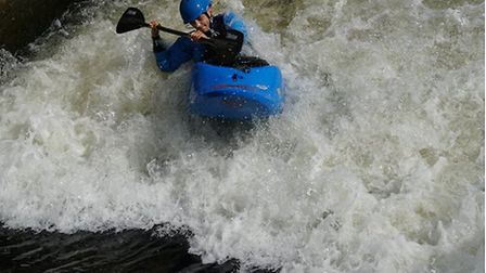 Toby Marlow in action at the British Mens Junior Freestyle Kayak Championship. Picture: LISSETTE NIX