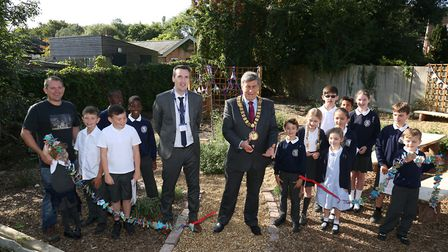 Head teacher Mr Horleston (second from left) and special guest Mayor of Welwyn Hatfield Borough Coun