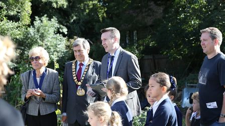 Head teacher Mr Horleston (second from right) shows around special guest Mayor of Welwyn Hatfield Bo