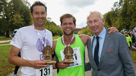 The Willow 10K winners (l-r) Adam Wadley (2nd), Jay Munkley (1st) with Bob Wilson. Picture: DANNY LO