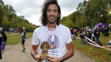 Nicholas Murphy took home the third place men's trophy from Willow 10K run 2019 at Hatfield House. P