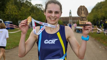 Eleanor Newton took first place female in the Willow 10K at Hatfield House. Picture: DANNY LOO