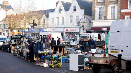 Car boot sales on the market place in Wisbech on Thursdays and Sundays bring extra people into the t