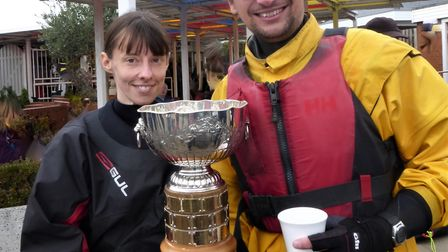 Annette Walter and Michael Ettershank won Welwyn Garden City Sailing Club's Punchbowl Trophy at Stan