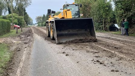 The state of the A1101 on Saturday, October 12 after farmers left mud all over the road during work