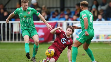 Elliot Bailey was at the double for Welwyn Garden City against Royston Town. Picture: DANNY LOO