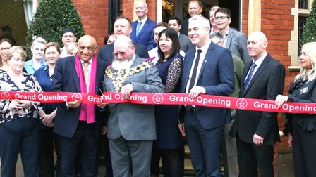 The Mayor of Wisbech, Councillor Michael Hill, cut the ribbon to officially re-open Lyncroft Care Ho